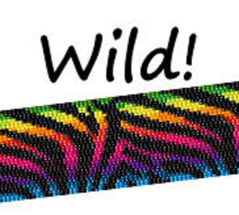 Peyote Pattern Rainbow Zebra Print Beaded Cuff Bracelet Bead image 0