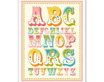 Children's Wall Art / Nursery Decor Alphabet Poster - ABC alphabet typography Poster Print
