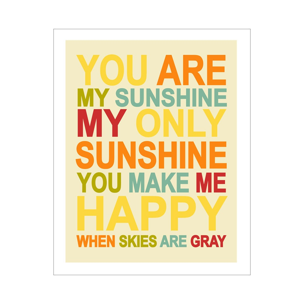 Children\'s Wall Art / Nursery Decor You Are My Sunshine... | Etsy