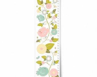 Growth Chart, Nursery Decor, Custom Canvas Growth Chart, Birds in Garden Growth Chart