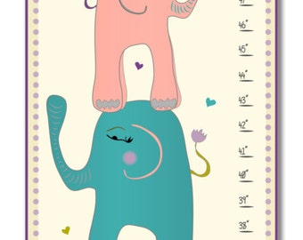 Personalized Children's Canvas Growth Chart / Ruler / Measure - Nursery Art - Stacked Elephants Growth Chart