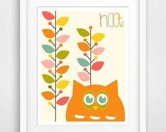 Hoot Owl in Colored Leaves, Nursery Wall Art Print