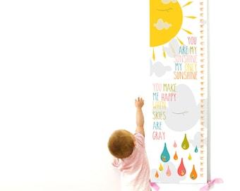 Growth Chart, Nursery Decor, Custom Canvas Growth Chart, You Are My Sunshine Sun and Cloud Rainbow Chart