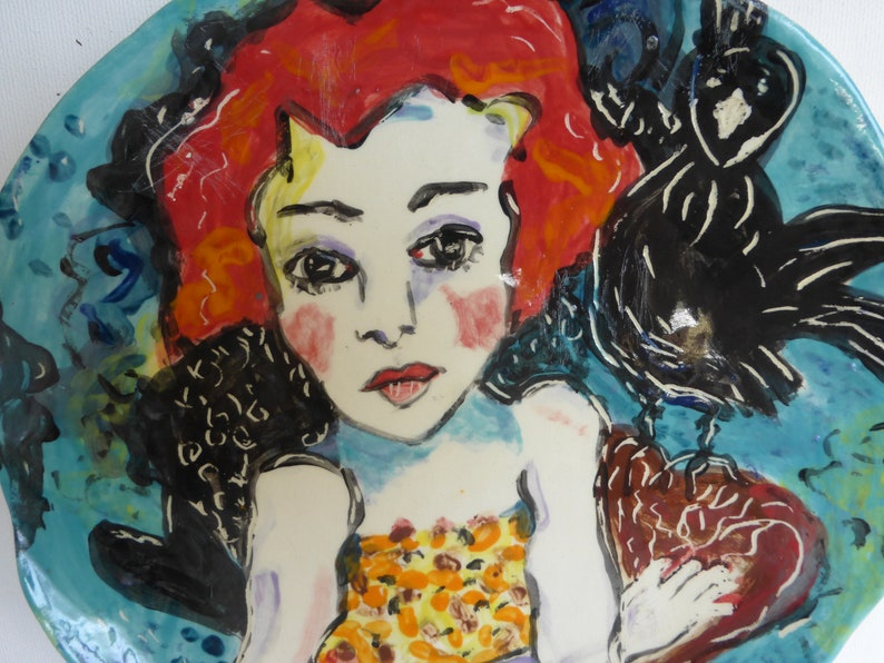 redhead wall plate figurative plate girl and crow red turquoise black