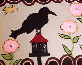 floorcloth home decor rugs painted rug blackbird