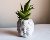 Baby Doll Planter, Doll Head Plant Pot, Boy Doll Planter, Creepy Doll Planter, Baby Head Plant Pot, Handmade Cement Planter, Head Planter