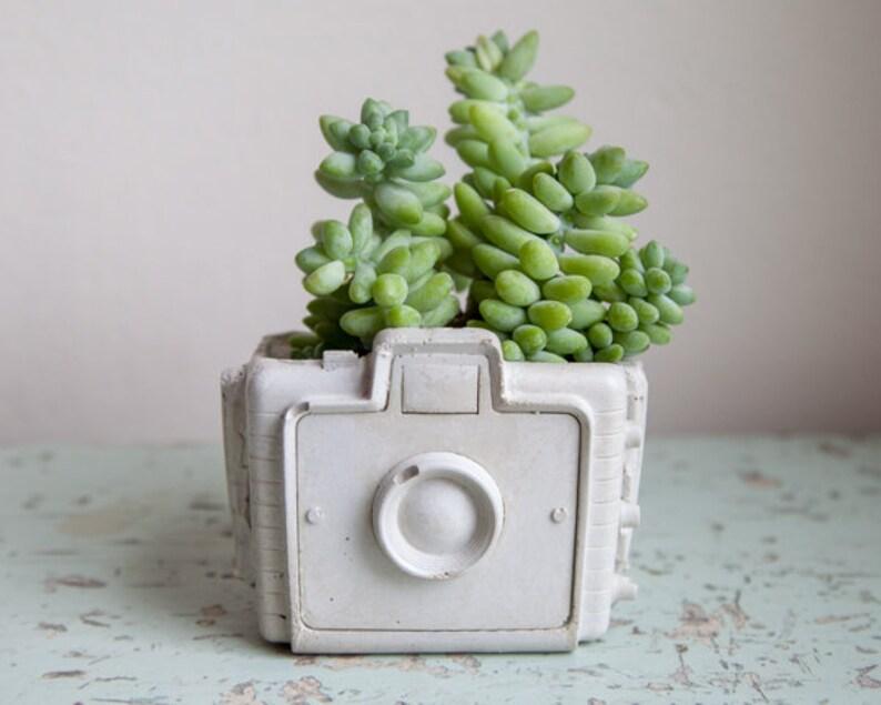 Camera Planter  cement retro home decor hipster chic garden image 0