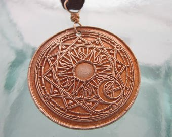 Handcrafted Unisex Bronze Solstice Necklace on Leather Adjustable Length