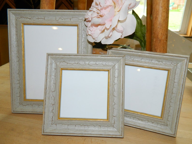 4 x 4 Reception Old Paint with Gold Edge CountryOutdoorRustic Wedding FrameFrames Table Numbers Gifts