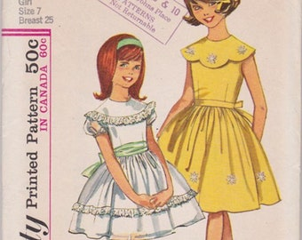 Vintage Simplicity 5371 Girls Dress Pattern size 7