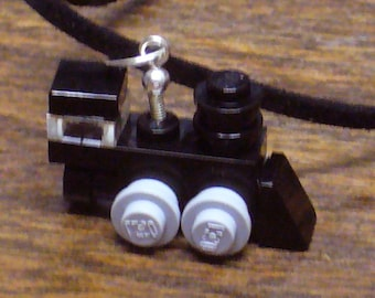 Black Mini Train Engine Necklace