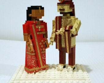 Custom Indian Wedding Cake Topper Bride and Groom