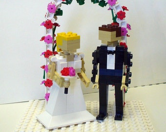 Custom Bride and Groom with Flower Arch
