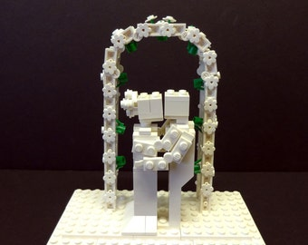 Custom Solid White Bride and Groom with Flower Arch
