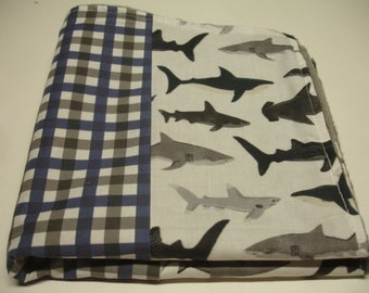Sharks in the Deep with Plaid Minky Baby Lovey 16 x 16 READY TO SHIP