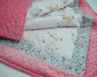 Fawn in Winter Minky Blanket You Choose Size and Minky Color MADE TO ORDER