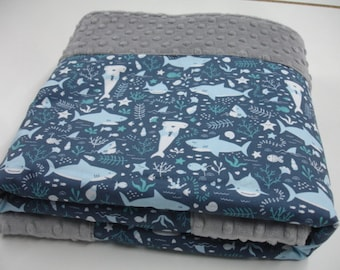 Sharks are Friends Minky Blanket You Choose Size MADE TO ORDER