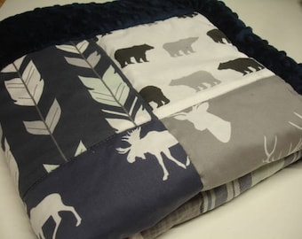 Rustic Woods Navy Mint Gray Minky Blanket You Choose Size MADE TO ORDER