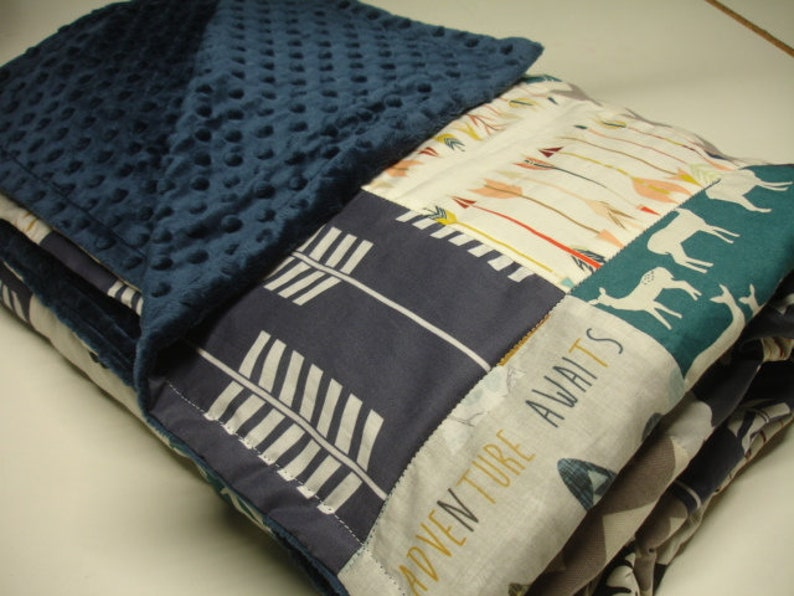 Adventure Awaits Navy Teal Gray with Woodland Animals Minky Blanket You Choose Size MADE TO ORDER