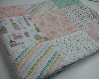 Kingdom Patchwork Minky Blanket You Choose Size and Minky Color MADE TO ORDER