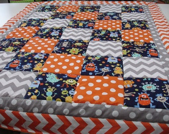 Monsters 3 Piece Baby Crib Bedding Set MADE TO ORDER