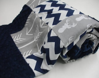 Gray Deer Head and Arrows Navy Chevron with Border Minky Blanket You Choose Size MADE TO ORDER