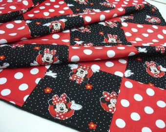 Minnie Mouse Red Black Patchwork Minky Blanket You Choose Size MADE TO ORDER