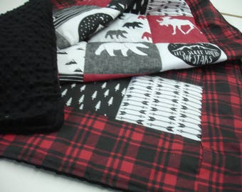 Mountaineer with Red Plaid Border Minky Blanket You Choose Size MADE TO ORDER