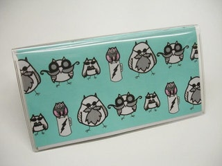 Checkbook Cover Manly Owls and Black Stripes Vinyl