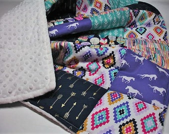 Galloping Free Horses Minky Blanket You Choose Size MADE TO ORDER