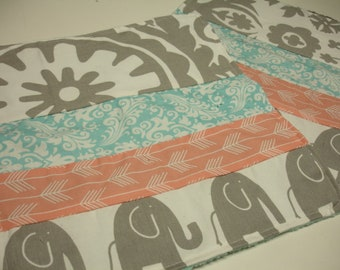 Elephants in Wonderland Aqua Coral Gray Minky Baby Burp Cloth Set READY TO SHIP