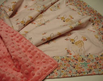 Fawn in Tulip with Canopy in Tulip Minky Blanket You Choose Size and Minky Color MADE TO ORDER