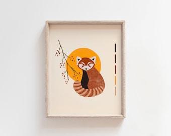 Mid Century Modern Red Panda Art Print Asian Wall Art Moon Illustration