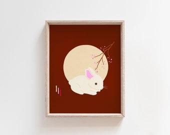 Japandi Wall Art Decor White Rabbit Art Print Asian Wall Art Moon Illustration Chinese New Year Baby Bunny Easter Art