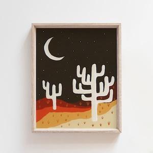 Mid Century Desert Landscape Print 8 x 10 Abstract Print Cactus Western Art Print