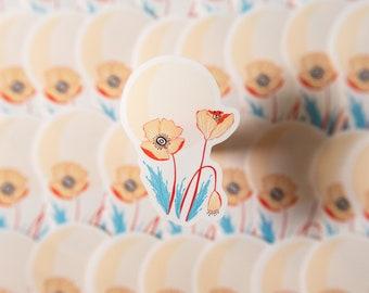 Mid Century Poppy Flower Vinyl Sticker Sun Flowers Illustration Retro Inspired Modern Western Moab