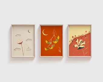 Mid Century Style Japanese Art Print Set of 3 4x6 Yoga Wall Art Asian Wall Art Lotus Ginkgo Flowers and Moon Abstract Modern Illustration