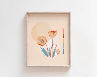 Mid Century Poppy Flower Art Print 8 x 10 Sun Flowers Illustration Retro Inspired Modern Western Moab