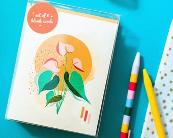 Plant Greeting Card Set with Envelopes | Philodendron Begonia Swiss Cheese Plant Anthurium
