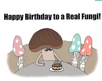 Printable birthday card for him, Funny Birthday card for Dad, Dad joke Greeting card, Mushroom Lover Gift, Cute food pun card, Men birthday