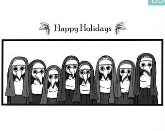 Plague Doctor Christmas Card, Funny Holiday card, Instant Digital Download card, Creepy Nun, Printable Holiday card, Goth Horror Art, MiKa