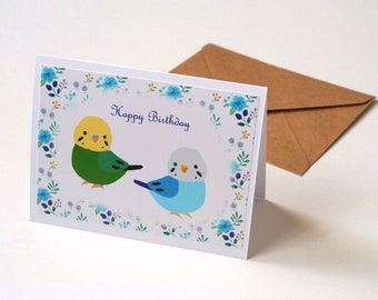 Budgie Birthday Card, Parakeets Greeting Card, Happy Birthday Gift for Bird Lover, Pet bird portrait, Budgerigar Owner gift, From Both of Us
