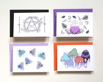 Witchy Gift, Halloween mini card set, Moth, Mushroom, Pentagram, Cauldron, Magic Holiday Gift for Kids, Pegan Mystic, Custom Christmas gift