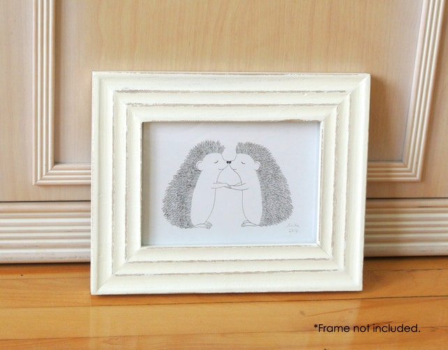 Hedgehog Print Hedgehog Kiss Black & White Wall Art Cute | Etsy