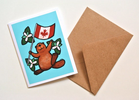 Canadian Birthday Cards Woodland Animal Greeting Card Beaver