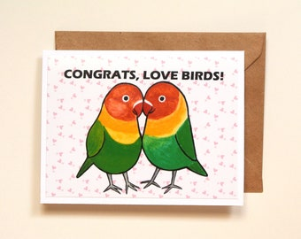 Congratulations card, Wedding card, Engagement Congrats, Lovebirds card, Cute Animal Pun, Happy Couple getting married, Just Married, LGBTQ