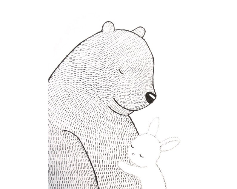 Bear & Bunny Ink Drawing Print Love Illustration Hygge Home image 0