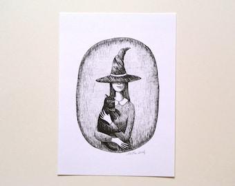 Witch print, Witch and black cat portrait, Halloween Home décor, Dark Art print, Gothic horror Illustration, Pegan women power Feminism art