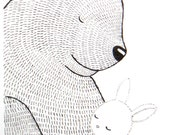 Bunny Bear Healing Love Print Original Ink Drawing on White MiKa Art