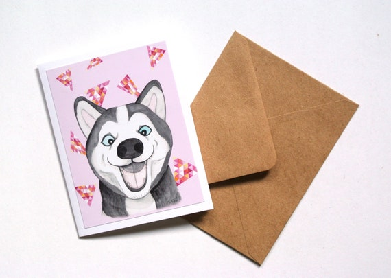 Funny Dog Cards Husky Happy Birthday Card Lovers
